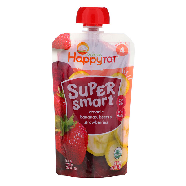 Happy Family Organics, Happy Tot, Super Smart, Fruit & Veggie Blend, Organic Bananas, Beets & Strawberries, Stage 4, 4 oz (113 g)