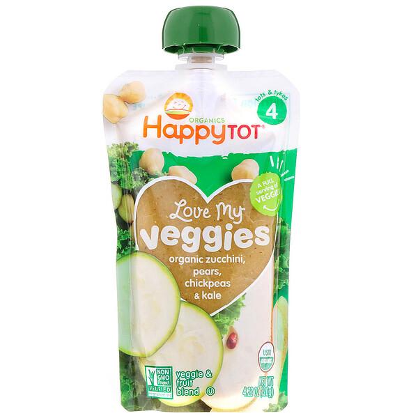 Organics Happy Tot, «Вкусные овощи», органическое пюре из цуккини, груш, нута и кудрявой капусты, 120г