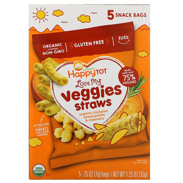 Happy Family Organics, Счастоивый малыш Organics, люблю мои овощи, мешочки с соломкой из нута, органический батат и размарин, 5 пакетов, 0,25 унции (7 г) каждый