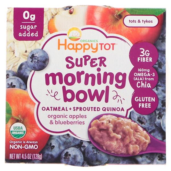 Happy Family Organics, Happy Tot, утренняя чашка, овес, ростки киноа, органические яблоки и черника, льняное семя, 4,5 унц. (128 г) (Discontinued Item)