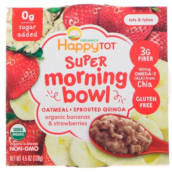 Happy Family Organics, Happy Tot, Super Morning Bowl, овес + проросшая киноа, органические бананы и клубника, 4,5 унц. (128 г) (Discontinued Item)
