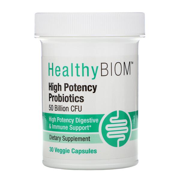 HealthyBiom, Высокоэффективные пробиотики, 50млрд КОЕ, 30растительных капсул