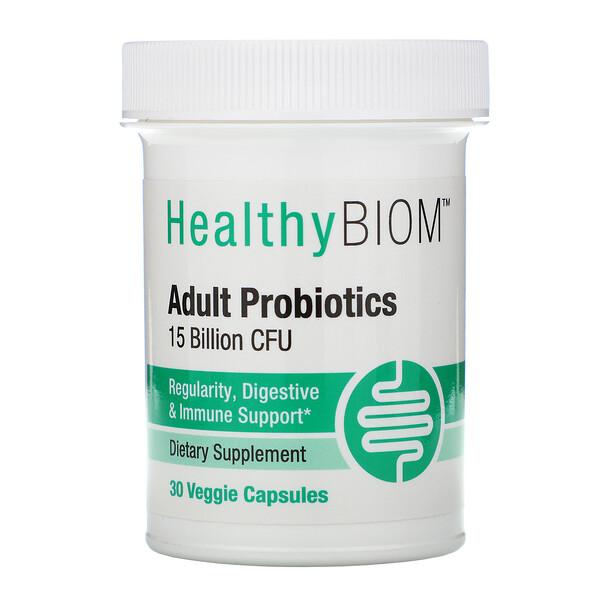 HealthyBiom, Пробиотики для взрослых, 15млрд КОЕ, 30растительных капсул