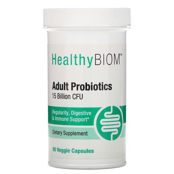 HealthyBiom, Пробиотики для взрослых, 15млрд КОЕ, 90растительных капсул
