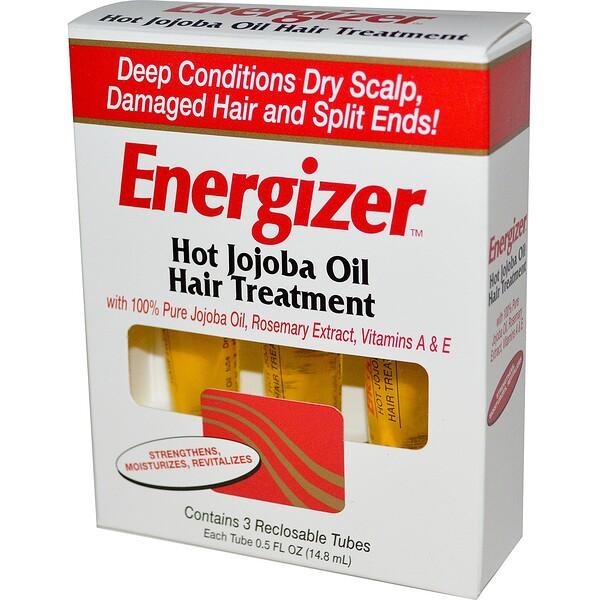 Hobe Labs, Energizer, лечение волос горячим маслом жожоба, 3 тюбика с повторно закрывающейся крышкой, 14,8 мл каждый (Discontinued Item)