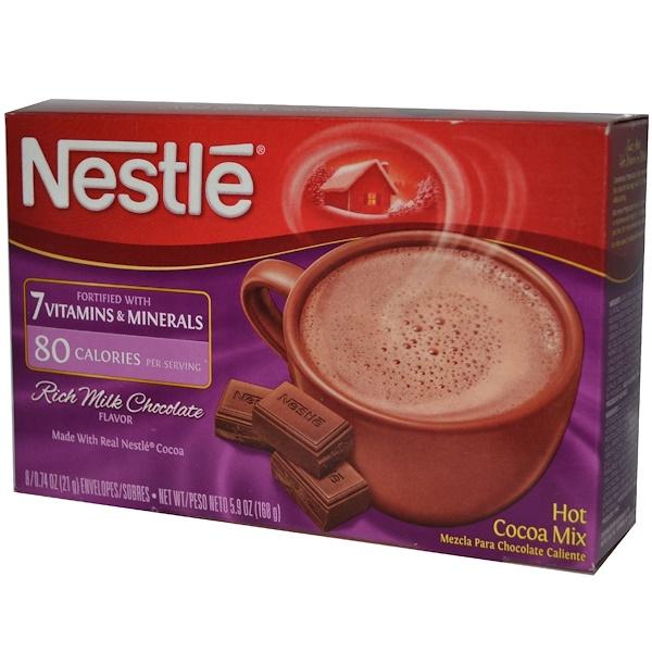 Nestle Hot Cocoa Mix, Богатый молочный шоколад, обогащенный 7 Витаминами и минералами 8 шт, 0.74 унции (21 г) каждый (Discontinued Item)