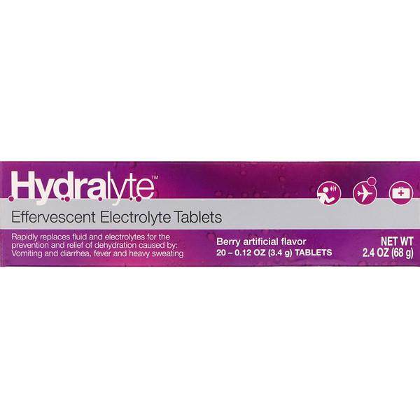 Шипучий электролит, искусственный ягодный ароматизатор, 20 таблеток, 2,4 унции (68 г)