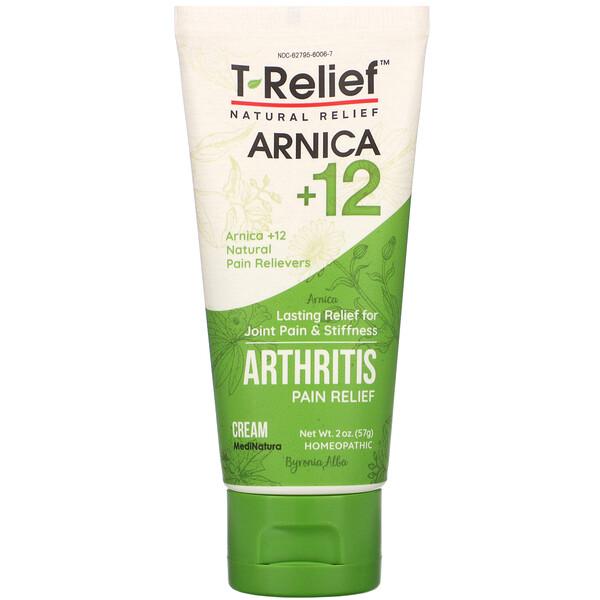 T-Relief, Arnica +12, Arthritis Pain Relief Cream, 2 oz (57 g)