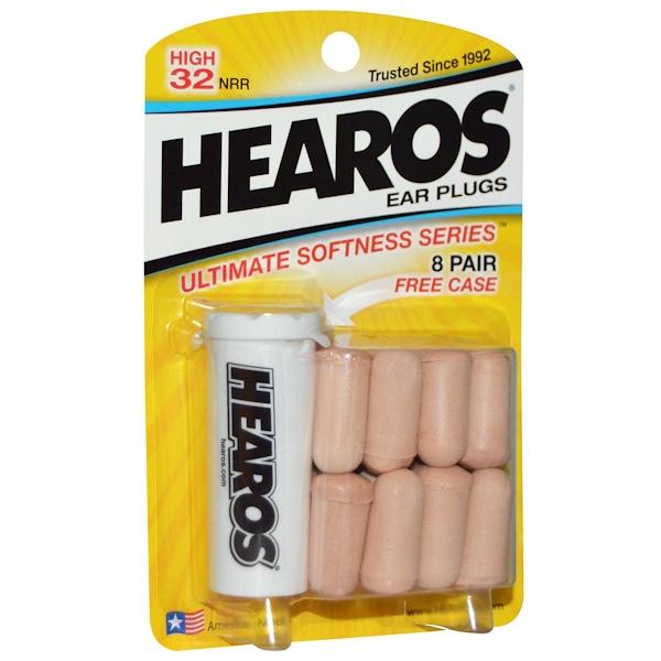 Hearos, Беруши, серия Оптимальная мягкость, высокий коэффициент снижения шума 32 NRR, 8 пар, бесплатный чехол (Discontinued Item)