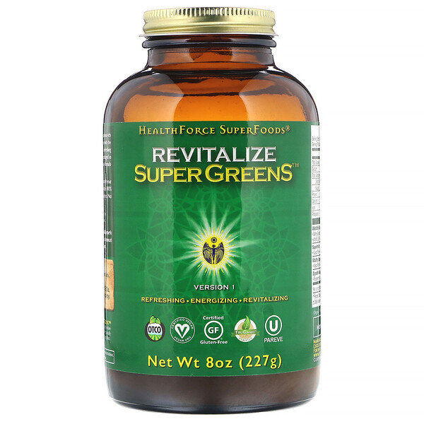 HealthForce Superfoods, Цельнопищевая добавка Revitalize Super Greens, 227 г
