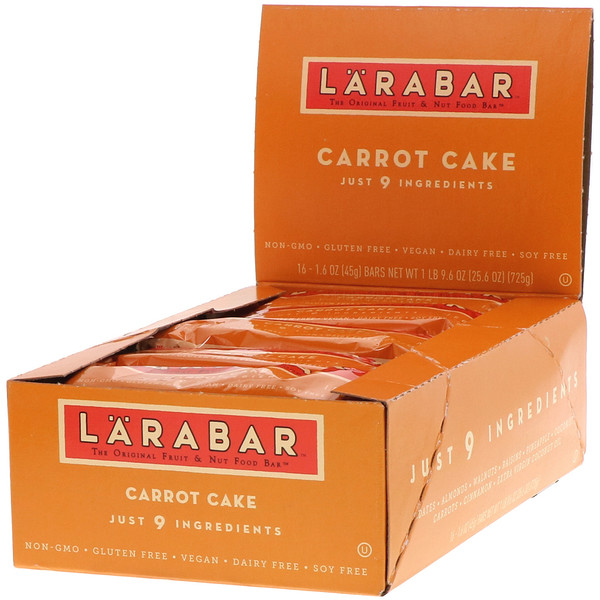 The Original Fruit & Nut Food Bar, Carrot Cake, 16 Bars, 1.6 oz (45 g) Each