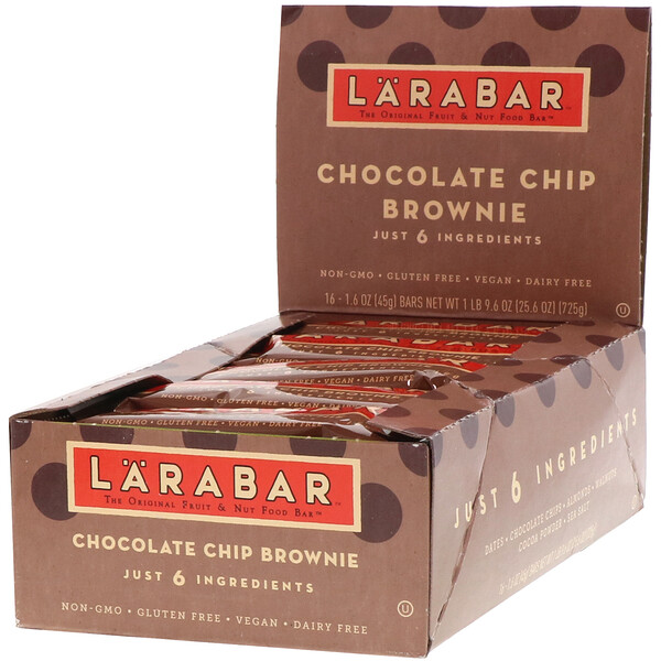 The Original Fruit & Nut Food Bar, Chocolate Chip Brownie, 16 Bars, 1.6 oz (45 g) Each