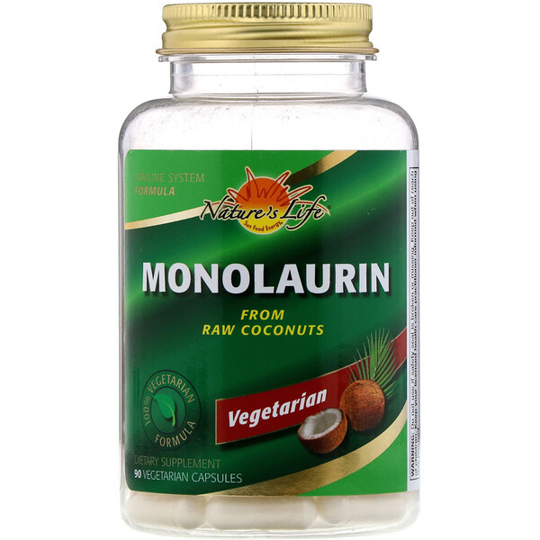 Nature's Life, Монолаурин, 90 вегетарианских капсул