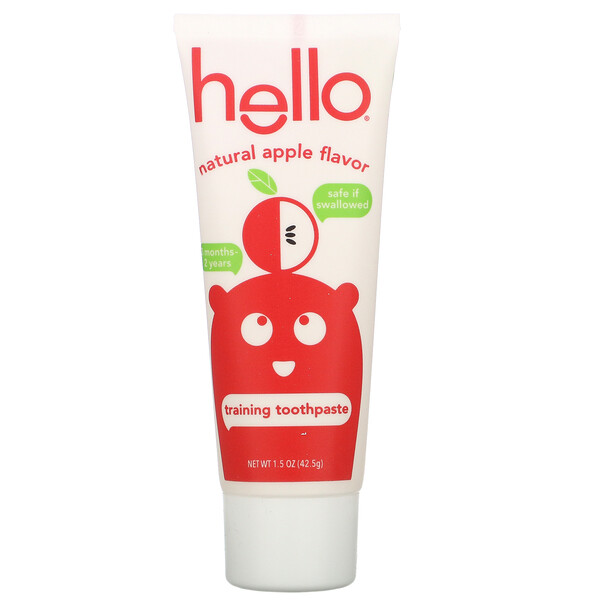 Hello, Training Toothpaste, Fluoride Free, Natural Apple Flavor, 1.5 oz (42.5 g) (Discontinued Item)
