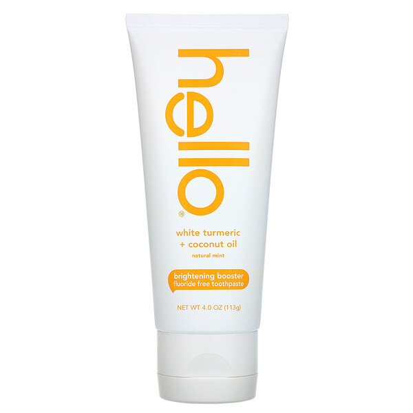 Brightening Booster Fluoride Free Toothpaste, White Turmeric + Coconut Oil, Natural Mint, 4.0 oz (113 g)