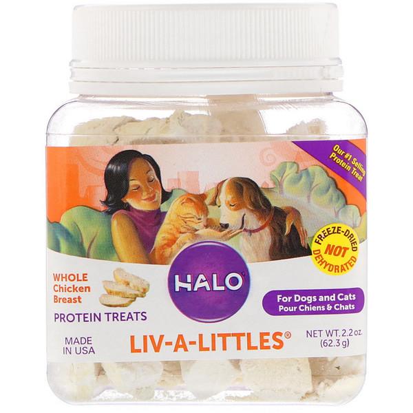 Liv-A-Littles, белковые угощения, цельная куриная грудка, для собак и кошек, 2,2 унции (62,3 г)