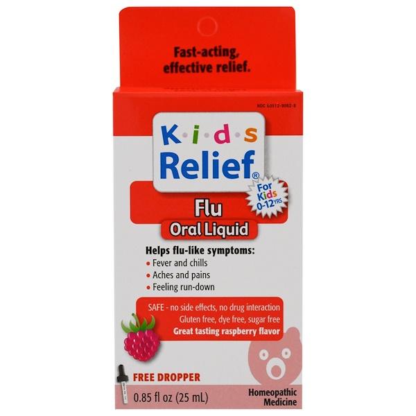 Homeolab USA, Kids Relief, средство от гриппа для детей от 2 лет, малиновый вкус, 0,85 жидк. унц. (25 мл) (Discontinued Item)