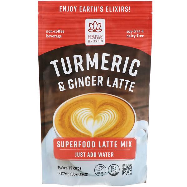 Hana Beverages, Turmeric & Ginger Latte, Non-Coffee Superfood Beverage, 16 oz (454 g)
