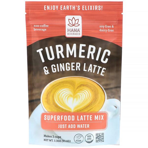Hana Beverages, Turmeric & Ginger Latte, Non-Coffee Superfood Beverage, 3.3 oz (93.6 g)