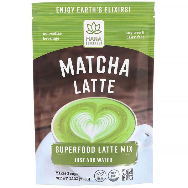 Hana Beverages, Matcha Latte, Non-Coffee Superfood Beverage, 3.3 oz (93.6 g)