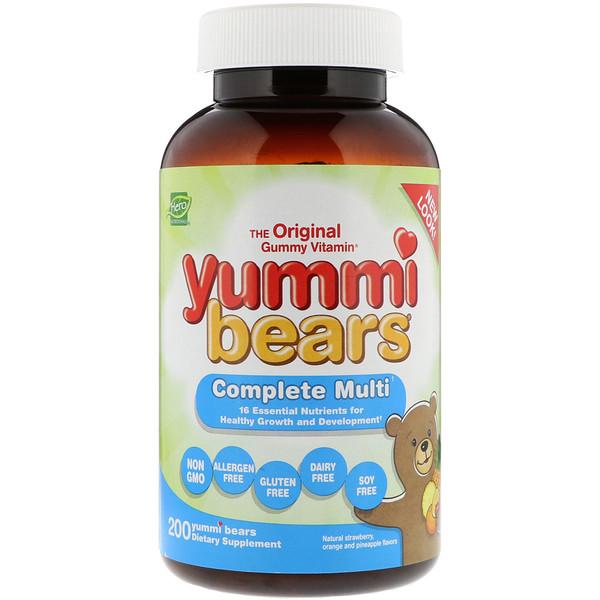 Hero Nutritional Products, Yummi Bears, мультивитаминный комплекс, натуральные вкусы клубники, апельсина и ананаса, 200 вкусных жевательных мишек