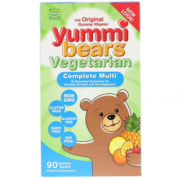 Hero Nutritional Products, Yummi Bears, Complete Multi, Vegetarian, Natural Strawberry, Orange and Pineapple Flavors, 90 Gummy Bears