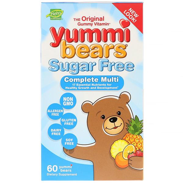 Hero Nutritional Products, Yummi Bears, Complete Multi, Sugar Free, Natural Strawberry, Orange and Pineapple Flavors, 60 Yummi Bears