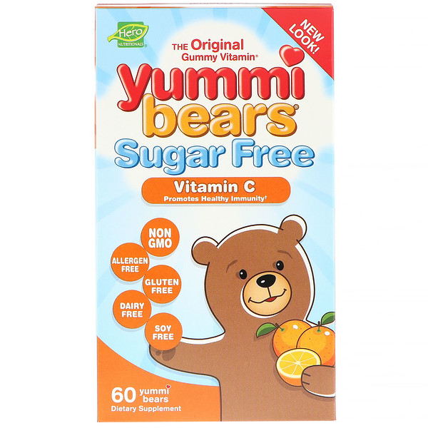 Hero Nutritional Products, Yummi Bears, Vitamin C, Sugar Free, All Natural Fruit Flavors, 60 Gummy Bears (Discontinued Item)