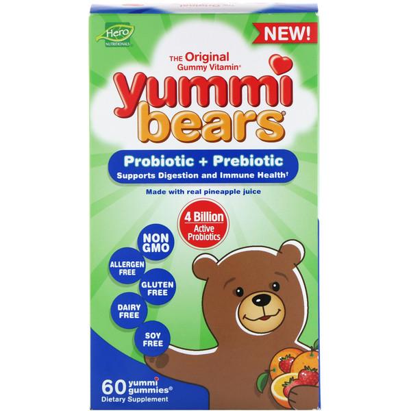 Hero Nutritional Products, Yummi Bears, пробиотики и пребиотики, натуральные ароматизаторы клубники и апельсина, 60жевательных таблеток