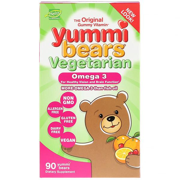 Hero Nutritional Products, Yummi Bears, вегетарианский, омега-3, 90 конфет в виде мишек
