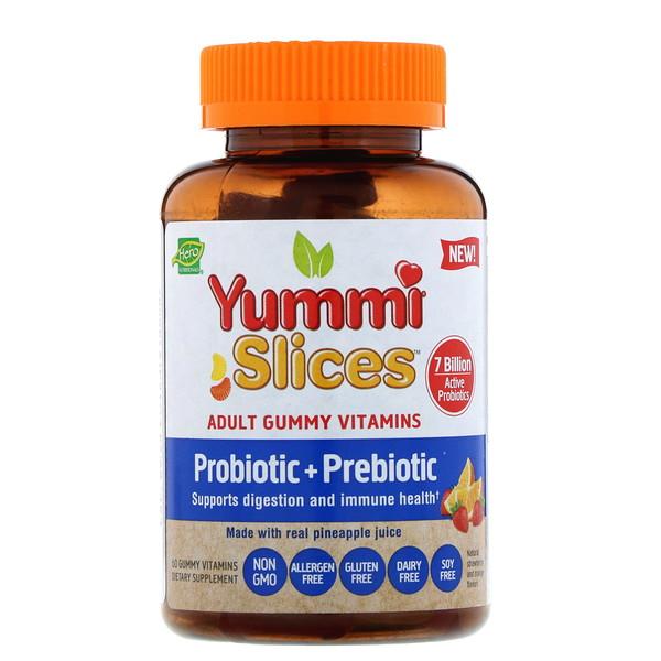 Hero Nutritional Products, Yummi Slices, жевательные витамины для взрослых, пробиотики и пребиотики, натуральные ароматизаторы клубники и апельсина, 60жевательных таблеток с витаминами (Discontinued Item)