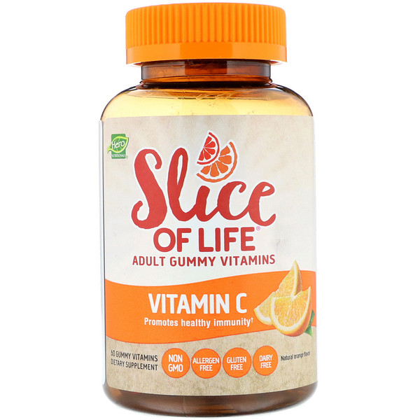 Hero Nutritional Products, Slice of Life, Adult Gummy Vitamins, Vitamin C, All Natural Orange Flavor, 60 Gummies (Discontinued Item)