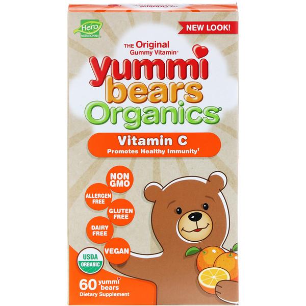 Hero Nutritional Products, Yummi Bears Organics, витамин C, 60 вкусных мишек (Discontinued Item)