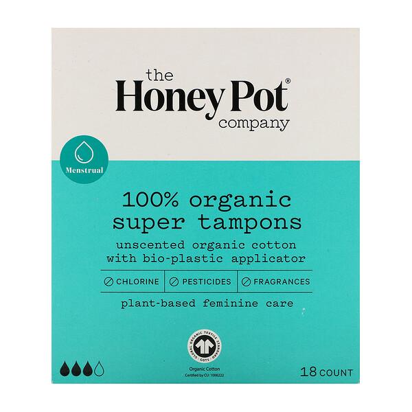 100% Organic Super Tampons, 18 Count