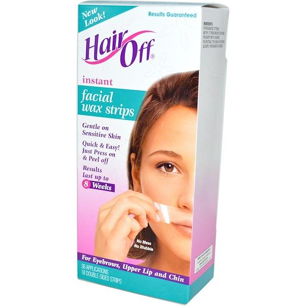 Hair Off, Восковые полоски для лица, 18 двусторонних полосок (Discontinued Item)