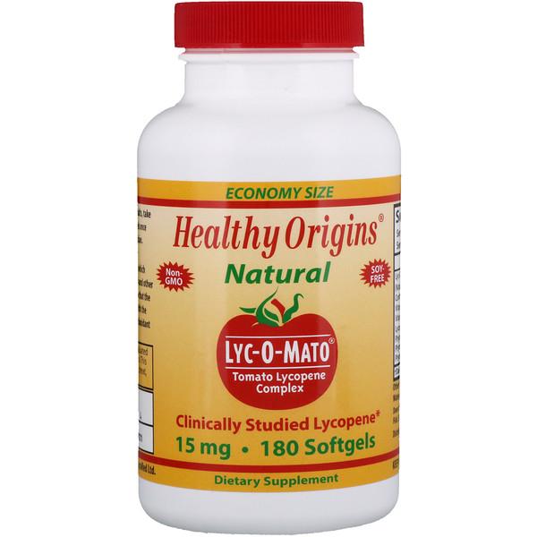 Healthy Origins, Lyc-O-Mato, комплекс томатов и ликопинов, 15 мг, 180 мягких таблеток (Discontinued Item)