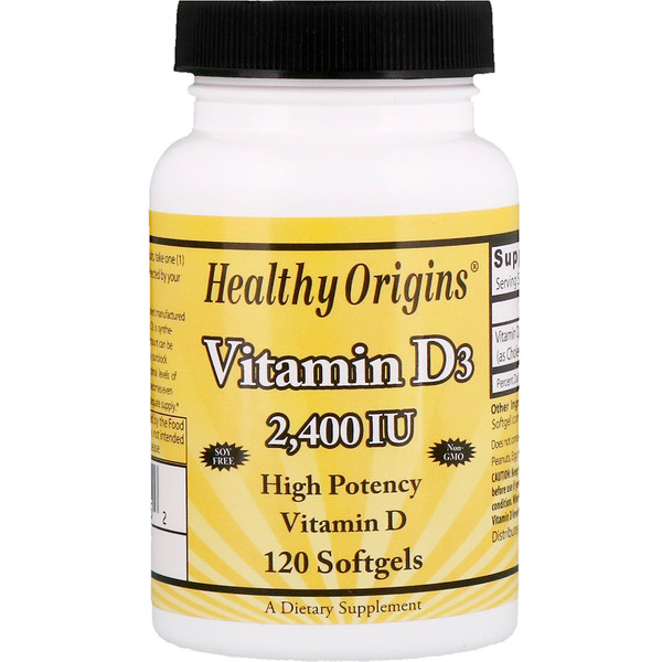 Healthy Origins, Витамин D3, 2400 МЕ, 120 мягких таблеток (Discontinued Item)