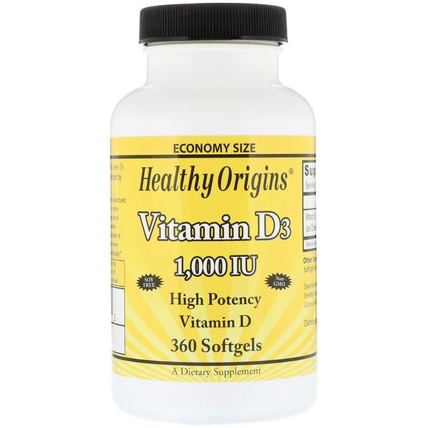 Healthy Origins, Витамин D3, 1000 МЕ, 360 гелевых капсул (Discontinued Item)