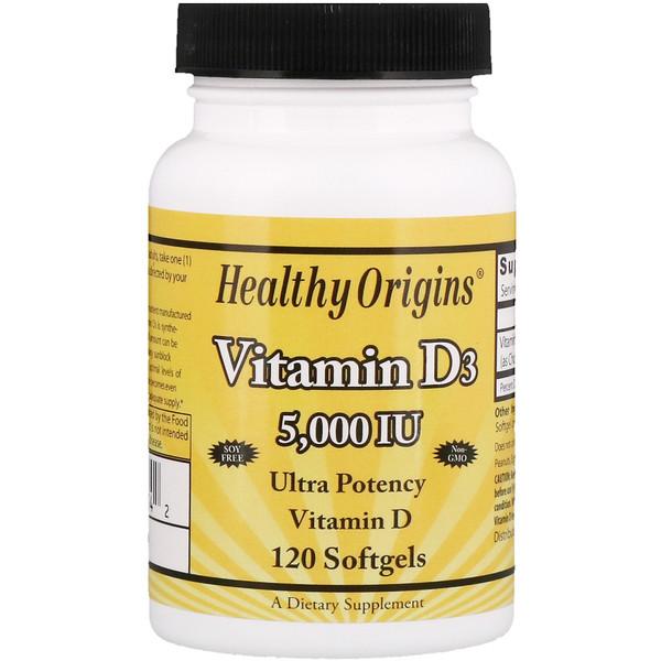 Healthy Origins, ВитаминD3, 5000МЕ, 120мягких таблеток (Discontinued Item)