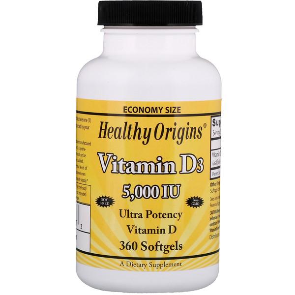 Healthy Origins, ВитаминD3, 5000МЕ, 360мягких таблеток (Discontinued Item)