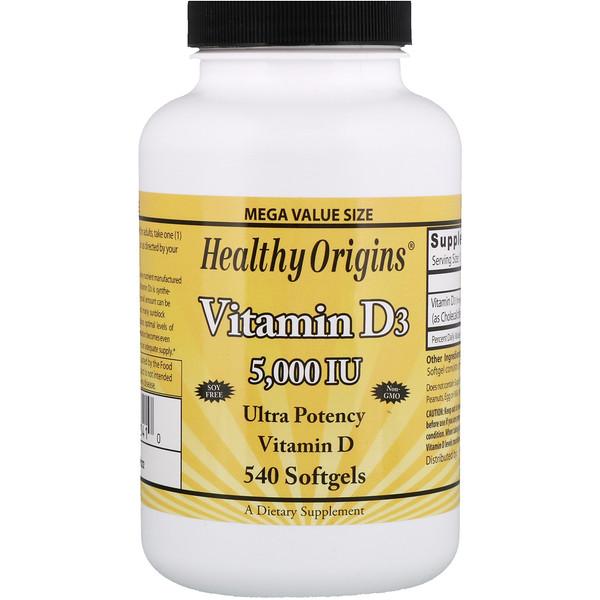 Healthy Origins, Витамин D3, 5000 МЕ, 540 желатиновых капсул (Discontinued Item)