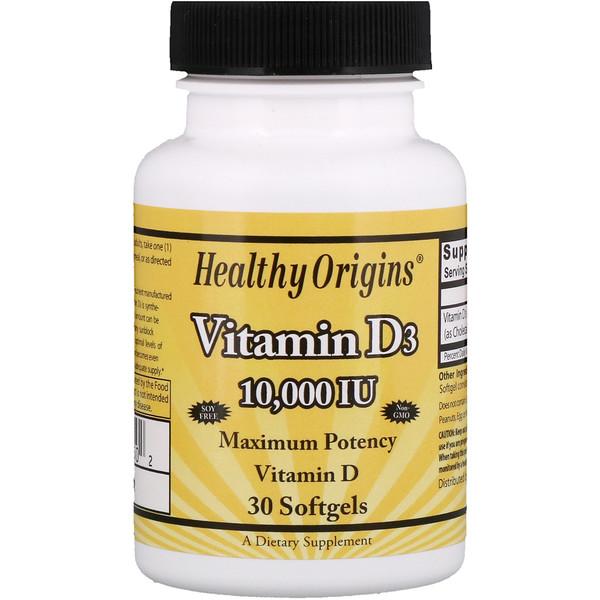 Healthy Origins, Витамин D3, 10 000 международных единиц, 30 желатиновых капсул (Discontinued Item)