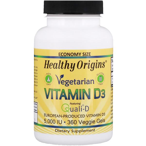 Healthy Origins, Вегетарианский витамин D3, 5000 ЕД, 360 гелей (Discontinued Item)