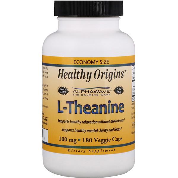 Healthy Origins, L-тианин, 100 мг, 180 Растительных капсул (Discontinued Item)