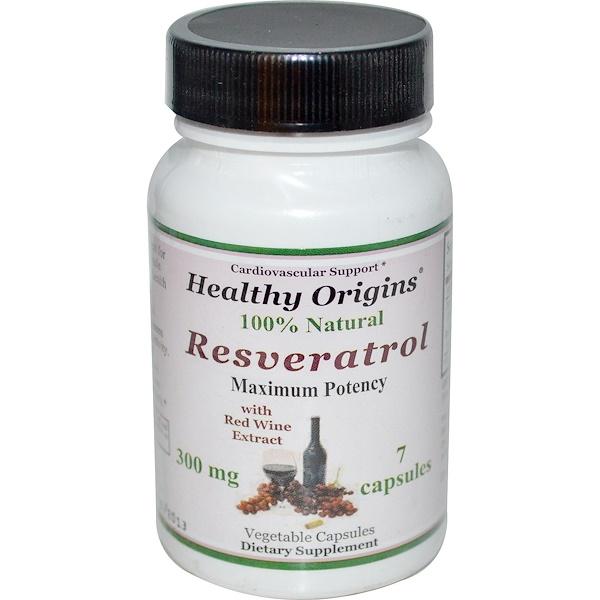 Healthy Origins, Resveratrol, 300 мг, 7 капсул (Discontinued Item)