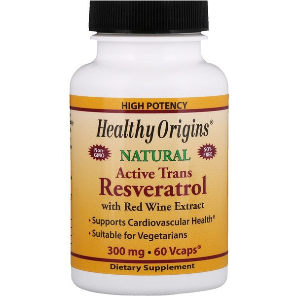 Healthy Origins, Active Trans Resveratrol, with Red Wine Exract, 300 mg, 60 VCaps (Discontinued Item)