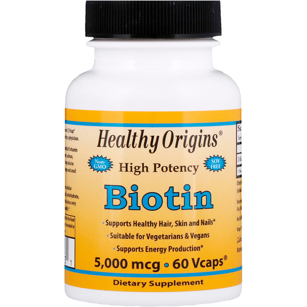 Healthy Origins, Biotin, High Potency, 5,000 mcg, 60 Vcaps (Discontinued Item)