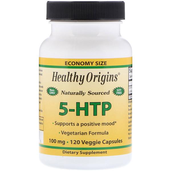 Healthy Origins, 5-гидрокситриптофан, 100мг, 120вегетарианских капсул (Discontinued Item)