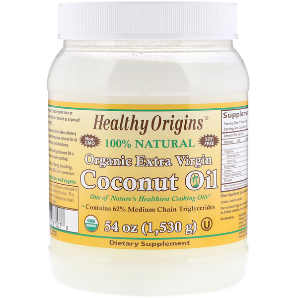 Healthy Origins, Органическое кокосовое масло первого отжима, 54 унции (1,503 г) (Discontinued Item)