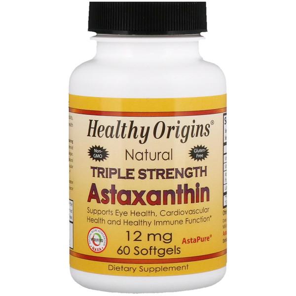 Healthy Origins, Астаксантин тройной силы, 12 мг, 60 мягких таблеток (Discontinued Item)
